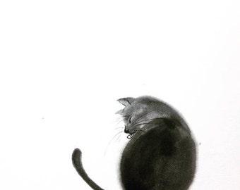 Moon series, Black cat/ Sumie Japanese ink painting