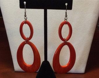 Orange acrylic earrings, Fun Earrings