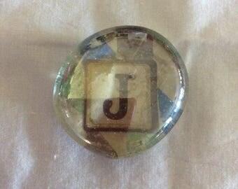Magnet / Letter J / Glass