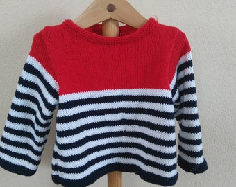 Boys size 12 months, cotton and acrylic sweater sailor