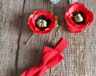 The bow tie, Brooch poppy, Red poppy, headband With poppy flower, Jewelry Set, Boutonniere poppy