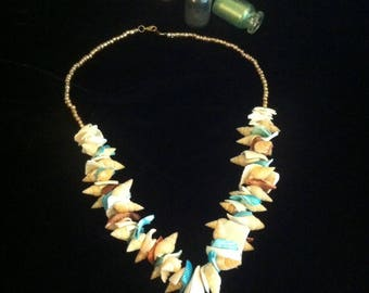 Shell Necklace - OCEAN BREEZE Natural blue and pink shell necklace, with gold bead-work. Matching earrings. From the CARIBE Collection