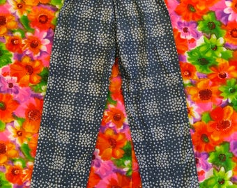 Vintage Chambray Daisy Checkered Capris Clam Diggers 1980s 1990s Denim Short Cropped Pants