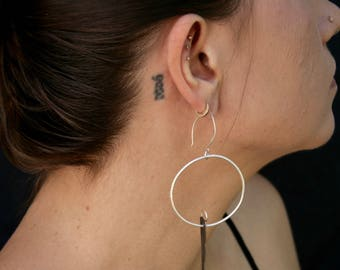 Sterling Silver Hoops with Matte Black Sterling Dangle