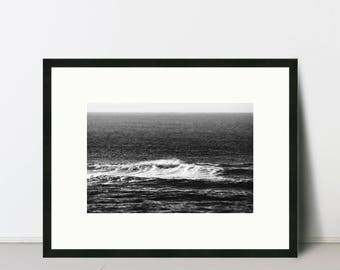 ROLLER 2   Black and White Ocean Wave Fine Art Photography Print