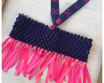 Hot Pink & Navy Baby Halter Top/ Nautical Tube Tops / Pink and Navy Halter Top