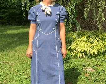 1930's Blue Peter Pan Dress with Adorable Pockets