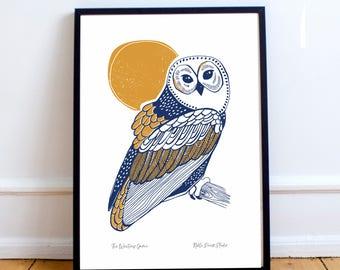 Owl linocut style illustration print A4, A3