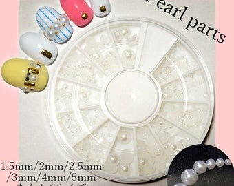 White Pearl Set Semi Half Circles 1.5mm-5mm About 500-600 Pieces