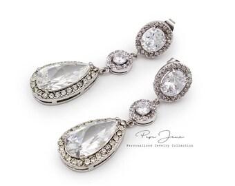 Wedding Earrings Zirconia Earrings Rhinestone Earrings Bridal Earrings Wedding Jewelry Bridal Jewelry Wedding Accessory