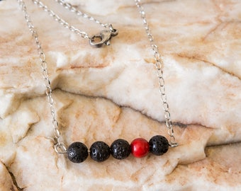 Lava Bead Essential Oil Diffuser Aromatherapy Bar Necklace and Bracelet with Red Howlite Accent Bead