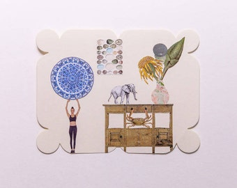 table with elephant and crab, original paper collage