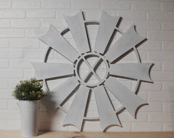 Circle Farmhouse Windmill Wall Art Home Decor Wooden Sign