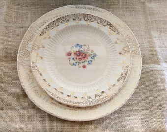 Vintage 1940s Floral Sebring Royal China Set for Seven / Dinner Plates and Salad Plates with 22K Gold