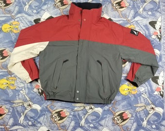 Vintage 90s Nautica Reversible Spell Out Fleece Coat NS 83 Jacket Size Large