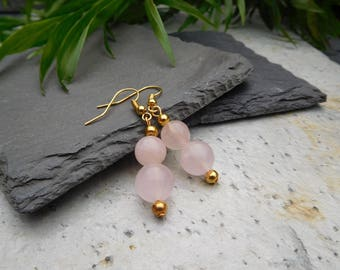 Rose Quartz and gold bead drop earrings