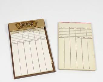 Bridge Pad Set, Vintage Brass Tone Bridge Pad Holder and Replaceable Pads, Card Games, Vintage Games
