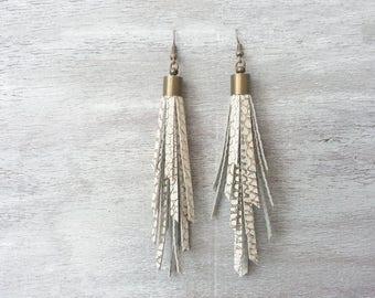 Gold and White Fringe Earrings Fringe leather earrings