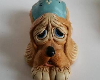 "Vintage 1960's Pendelfin Dog Figurine ""Pooch"", Stonecraft, Blue"