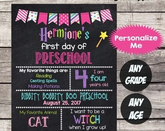 First Day of PRESCHOOL Sign First Day of School sign First Day of School Chalkboard Printable Personalized Back to School Sign ANY GRADE #1