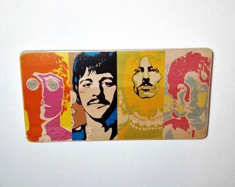The Beatles - Pop Art - John Lennon - Paul McCartney - George Harrison - Ringo Starr - transfer print on reclaimed wood