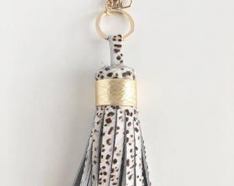 Tassel Keychain- Leopard hair on hide