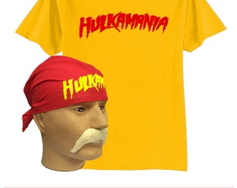 Hulk Hogan Hulkamania adults fancy dress wcw wwf 80s 90s sports fancy dress wrestlemania nwo wrestler costume