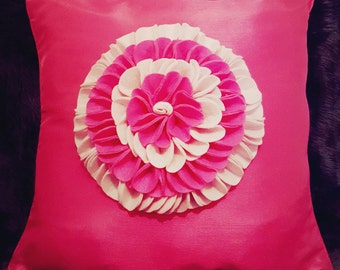 Designer, 3D Luxury Pink Flower/Petal Decorative Cushion Cover, Throw Pillow