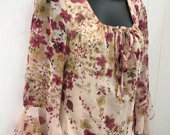 Vintage 90s Romantic Floral Bias Cut Dress 3/4 Bell Sleeves Fully Lined Studio Y Sz 7/8 NEW NWT