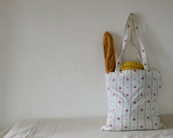 Floral Eco Tote Bag, Repurposed from Vintage Sheets