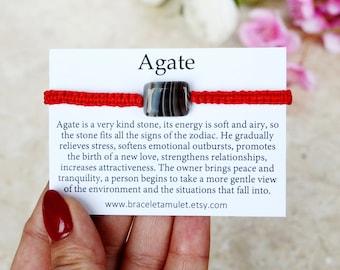 KABBALAH bracelet Agate bracelet Woven bracelet Macrame bracelet Gemstone bracelet Beaded bracelet Friendship bracelet String bracelet