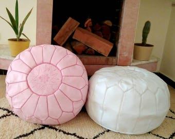 Moroccan Pouf round pouf Set of 2  Handmade Leather poufs Leather Ottoman floor pouf White Soft Pink luxury pouf