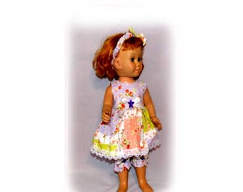 """3 Piece Set fits 20"""" Tall Talking Chatty Cathy Dolls. Dress, Headband Bow & Bloomers. Vintage Toy Doll Clothes. Handmade in the USA."""