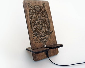 Docking Station Phone Holder Wood Docking Station for iPhone 4, 5, 6, 6 Plus, 7 & 7 Plus iPhone Stand Wood Tech Gift Unique Wood Stand