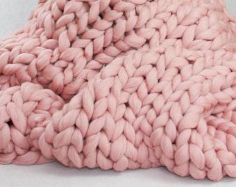 Chunky Knit Blanket, Merino Wool Blanket, Knitted Blanket, Gigantic Blanket, Super Chunky Blanket, Baby Knit Blanket, Knit Throw