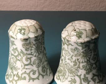 Antique green transferware salt and pepper shakers made in Japan