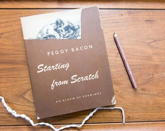 "Cat Book Peggy Bacon Vintage Book / Rare Books / Art Book ""Starting from Scratch"" 1945 First Edition Rare Book"
