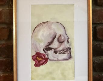 Flower and skull mixed media hand painting