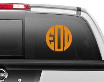 Car Decal Monogram Etsy - Circle monogram car decal
