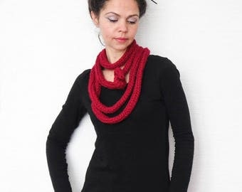 Knit Scarf Necklace, red scarf, Loop scarf, Infinity scarf, Neck warmer, Knit scarf, woman scarf, birthday gift, long scarf