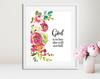 God is in her she will not fall, Printable wall Art, Psalm 46:5, Bible verses, Nursery verse print Scripture art Christian wall art