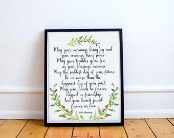 May your mornings bring joy, Irish Blessing printable, Irish Toast, Wedding Blessing, Gold Floral Decor, Wedding Toast, Irish Decor