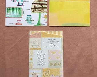 Hallmark Cards With Thoughtful Messages and Ink Illustrations set of 3
