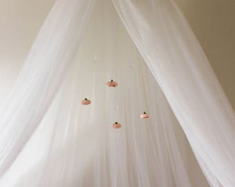 Floral Pink Rose Flower Crib or Bed Canopy Tent Crown With Hanging Crystals and Roses mobile Baby Shower Gift or Decoration Nursery Decor