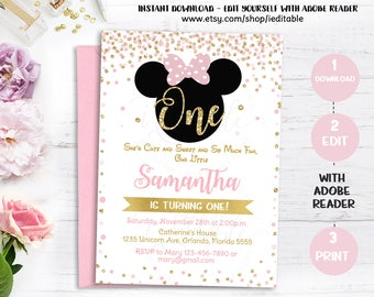 Pink and Gold Minnie Mouse Birthday Party Invitation, First, 1st Birthday, Gold Glitter, Polka Dot invite, Girl, Printable Intant download