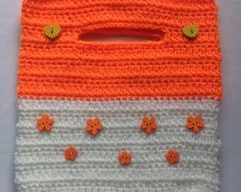 Flowery Orange Crochet Handbag