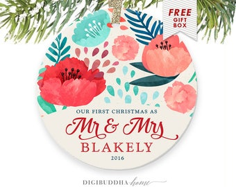 Married Christmas Newlywed Ornament, Trending Now, Married Ornament Custom Christmas Ornaments Married, First Christmas Ornament Couple