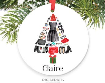 Fashion Ornament Teenager Ornament Fashion Christmas Tree Stylish Clothes Shoe Makeup Ornament Girly Personalized Ornament Teenage Girl Gift