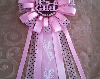 Pink baby shower ribbon corsage pin, It's a girl, pin clip corsage