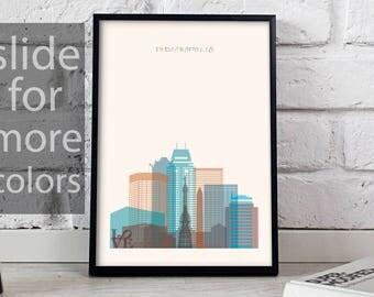 Indianapolis art Indianapolis print Indianapolis decor Indianapolis poster Indianapolis Skyline Indiana poster Indianapolis art Gift poster